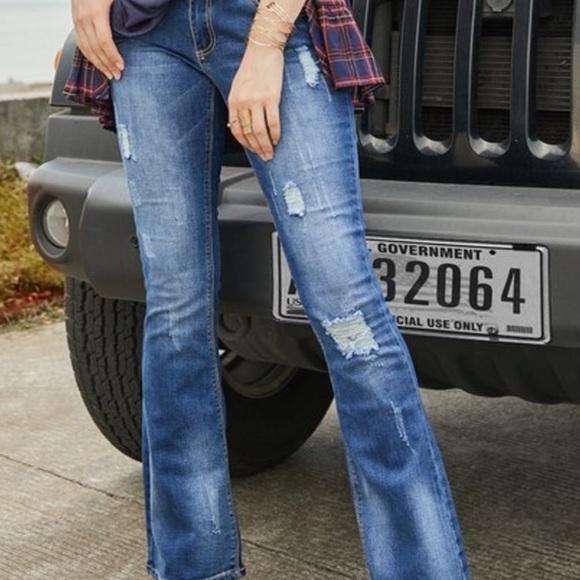 Susanne Beto Denim - NEW Distressed Denim Jeans Bootcut Wide Leg 34x33